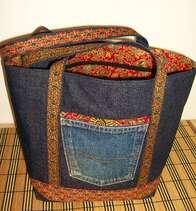 En jean et tissu indonésien