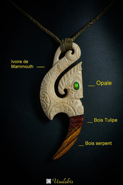 Blog de usulebis :Usulebis ,Artisan créateur de bijoux polynésiens , contact : usulebis@hotmail.fr, Pendentif Hameçon Tiki en ivoire de Mammouth serti d'une opale