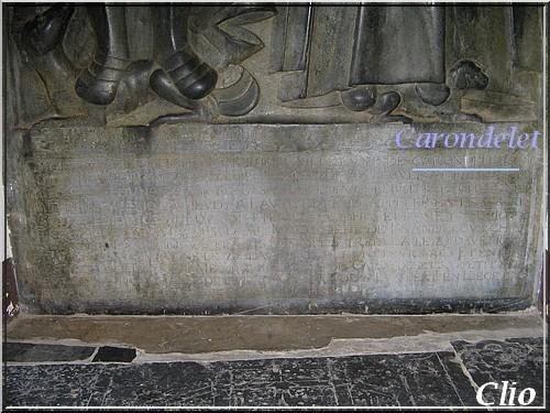 SOCLE PIERRE TOMBALE CARONDELET DEBOUT