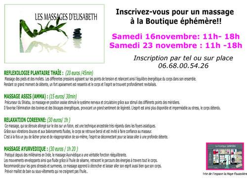 SAMEDI 23 NOVEMBRE : Inscrivez vous pour un massage !!