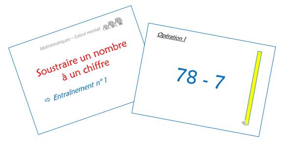 Soustraire un nombre à un chiffre (diaporamas)