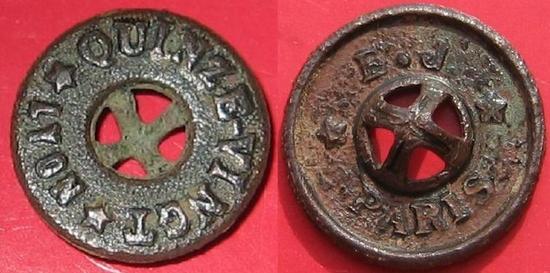 BOUTON DE LYON QUINZE VINGT bronze