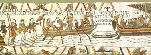Tapisserie de Bayeux, entre 1066 et 1082, Bayeux, Musée de la Tapisserie de Bayeux.