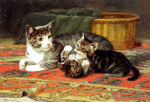 Tableau du samedi : un chat avec ses chatons