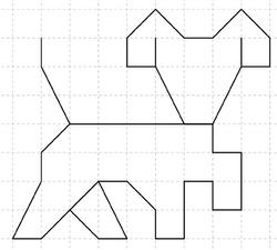 Figures sur quadrillage : chien