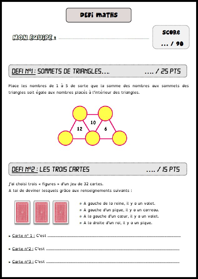 image défis maths 9