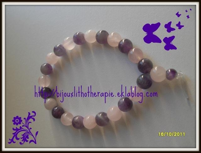 bracelet quartz rose et améthiste