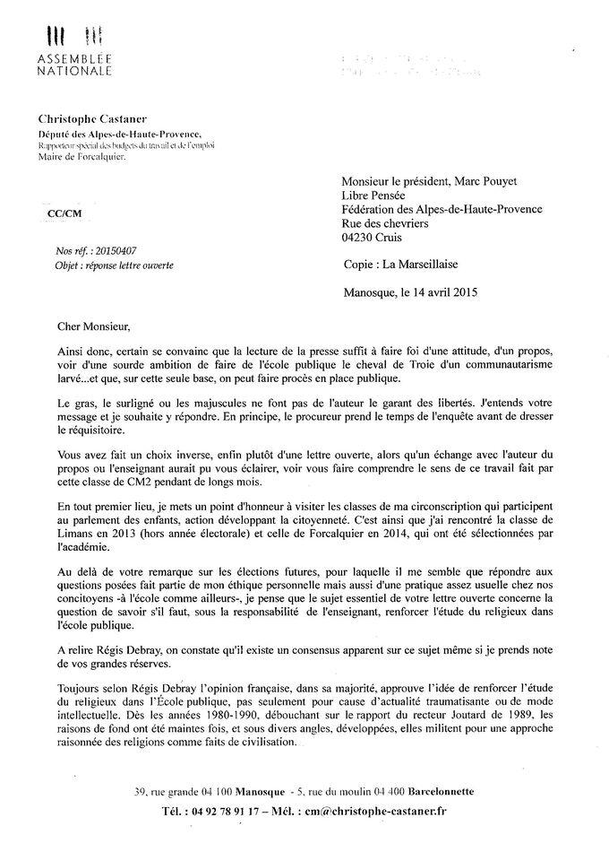 lettre ouverte à Monsieur Christophe Castaner,  député des Alpes de Haute Provence, réponse et mise au point