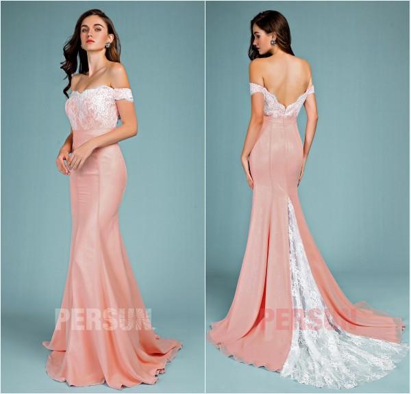 robe de soirée vieux rose sirène épaule dénudé 2019