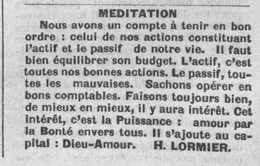 Henri Lormier - Méditation (Le Fraterniste, 1er mars 1930)
