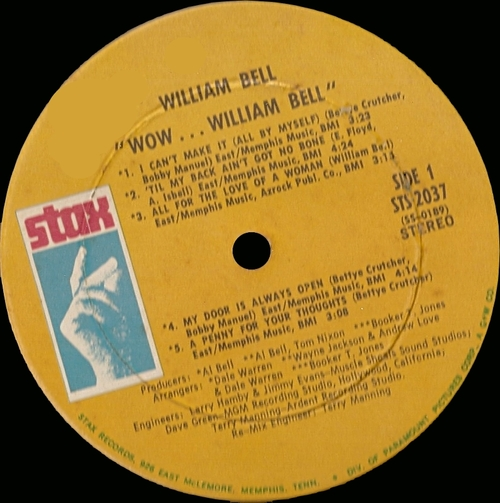 "William Bell : Album "" Wow... "" Stax Records STS 2037 [ US ]"