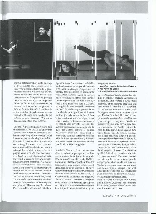 Un article dans La scène n°68 - printemps 2013