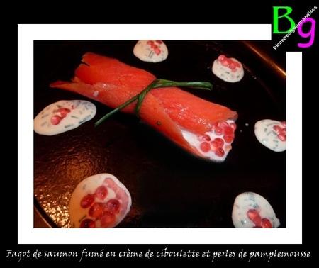 fagot saumon fumé, ciboulette, perles pamplemousse