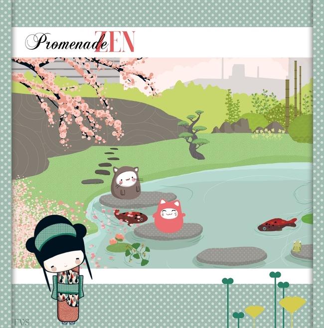Carte Kokeshi - Promenade zen