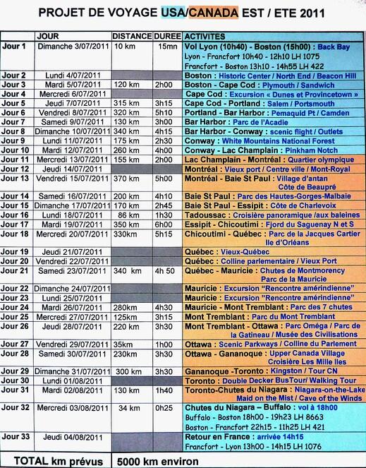Programme USA et CANADA EST été 2011