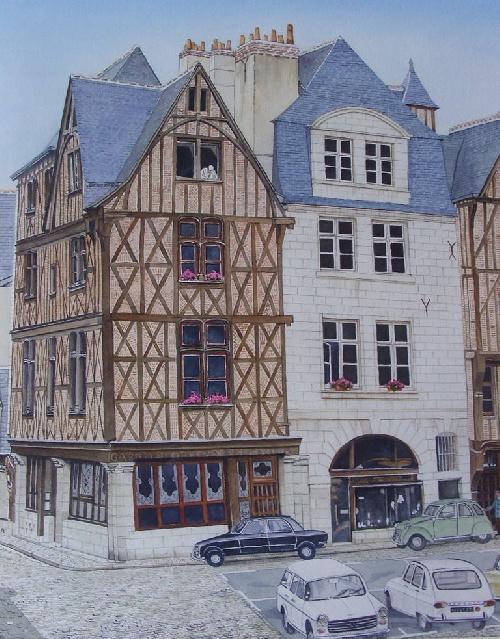 La Place Plumereau du Vieux Tours en aquarelle réalisée par Michel LE BRIGANT Artiste Peintre en Touraine
