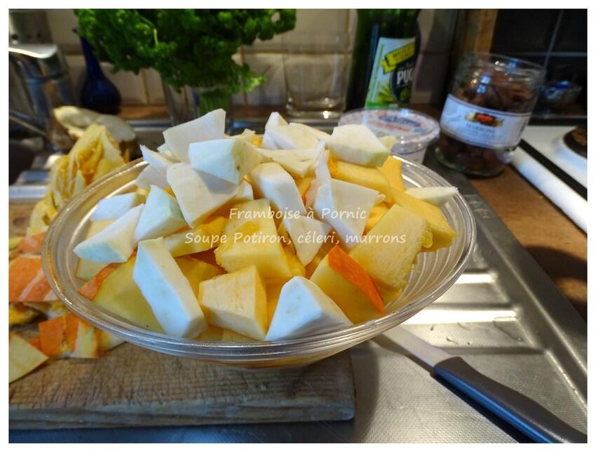 Soupe potiron, céleri et marrons