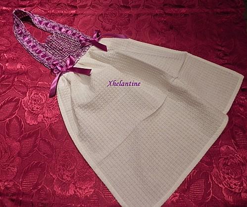 tablier essuie mains blanc violet 1