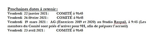 Dates Comité 2021