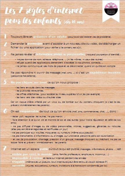 ✿ Les 7 règles d'internet pour les enfants (dès 10 ans)