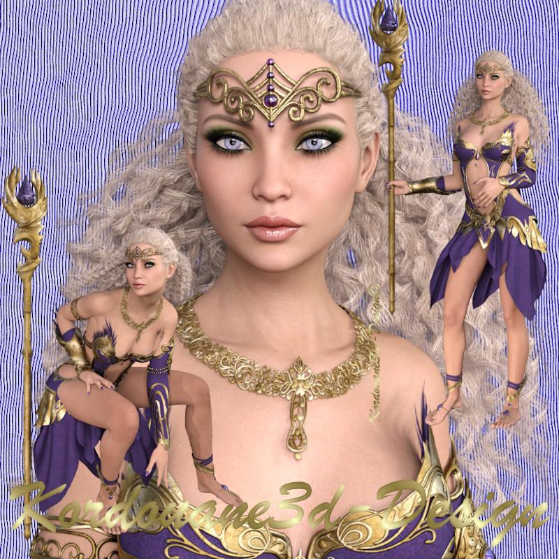 Améthyste : 3 tubes de femme aventurière fantasy