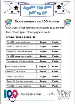 100 jours d'école: le centième jour au CP