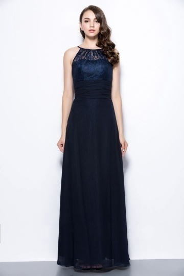 robe demoiselle d'honneur bleu longue à haut en dentelle