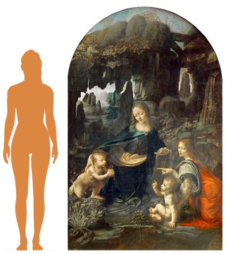 Silhouette d'une femme à hauteur de celle du tableau.