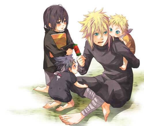 Itachi, Sasuke,Minato et Naruto