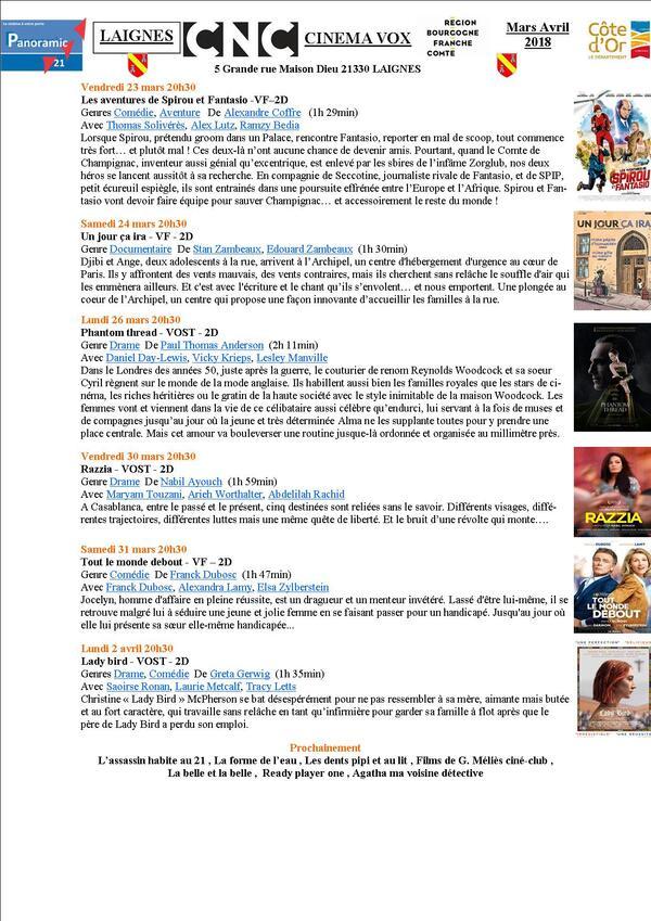 Programme du Cinéma Vox de Laignes...