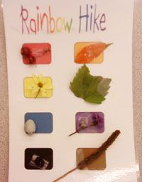 Rainbow Hike Card - more scavenger hunt ideas: