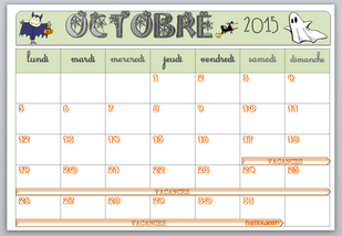 Affichage calendrier 2015 - 2016 - 3 zones