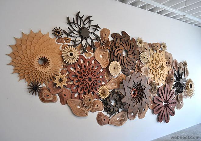 modern wall wood sculpture
