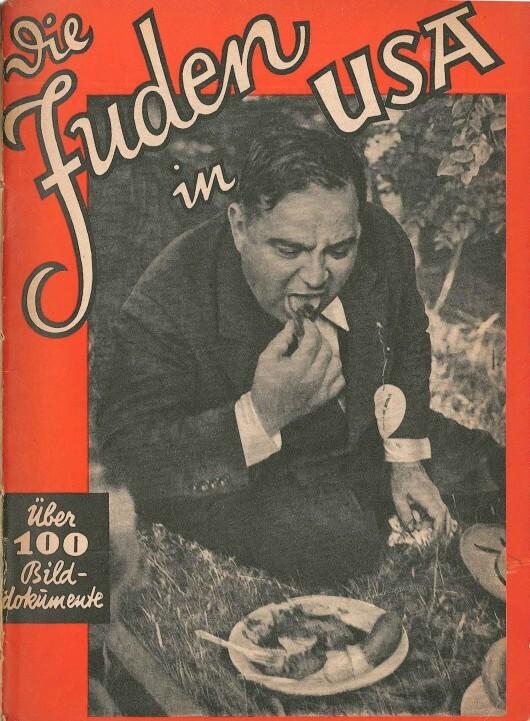 """La couverture de la brochure de propagande """"Die Juden in USA"""", """"Les juifs aux Etats-Unis"""". Photographie de Fiorello LaGuardia par l'agence AP."""
