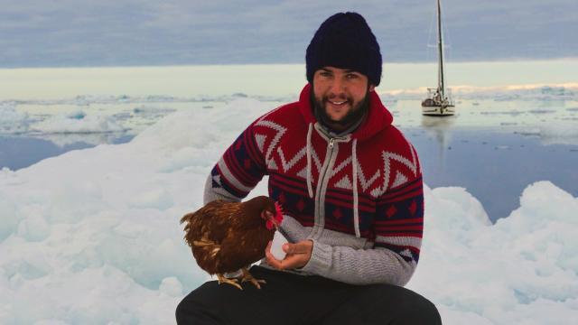 Guirec Soudée et Monique la poule. La météo de dimanche pourrait leur permettre de rejoindre leur point d'hivernage au Groenland.
