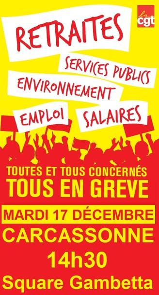 On continue et on amplifie les mobilisations contre le projet de réforme de retraites, les 12, 14, 17 Décembre 2019 !