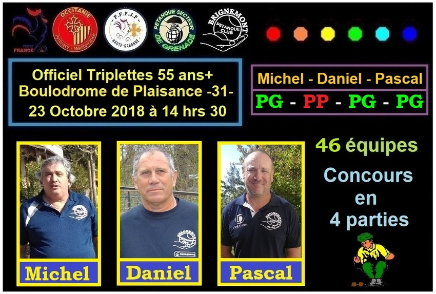 Officiel Triplettes 55 ans+ 4 parties à Plaisance -31-