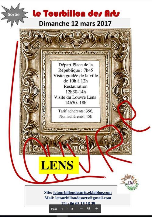 Sortie au Louvre Lens du dimanche 12 mars