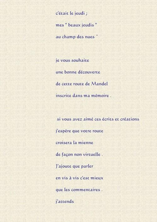 Mes beaux jeudi . Texte de présentation  La route de Mandel .