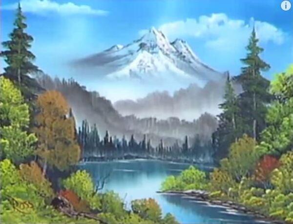 Dessin et peinture - vidéo 1446 : Une technique intéressante pour réaliser un paysage montagneux - huile sur toile.