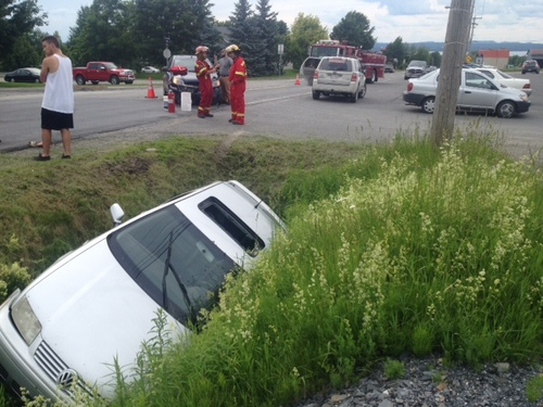 Accident impliquant deux véhicules