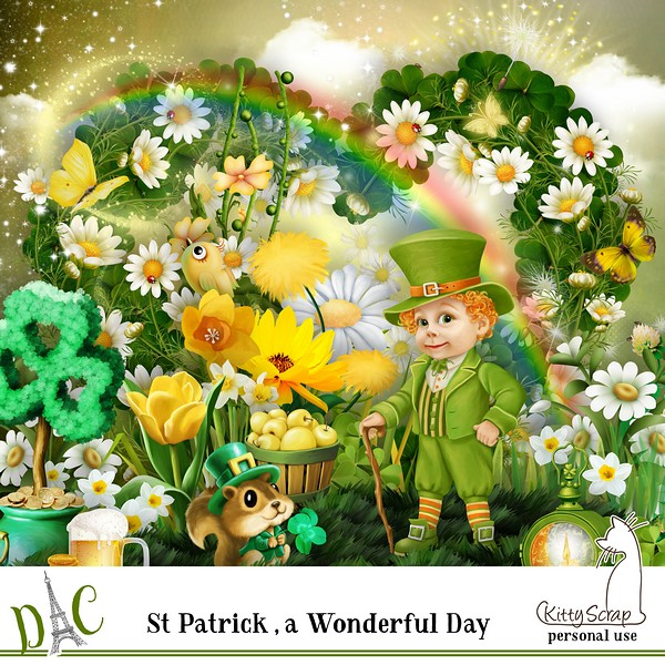 Kit St Patrick , wonderful day de kittyscrap