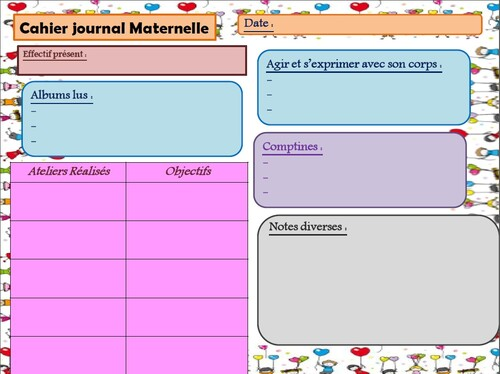 Cahier journal maternelle