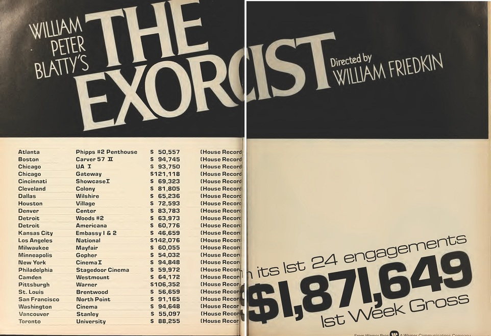 THE EXORCIST BOX OFFICE USA 1973