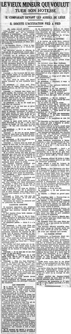 Le vieux mineur qui voulut tuer son hôtesse (La Dernière Heure, 28 mars 1934)(Belgicapress)
