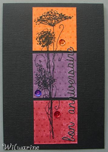 Créablablablog 265, noir, orange, pourpre, rouge, fleur, carte anniversaire