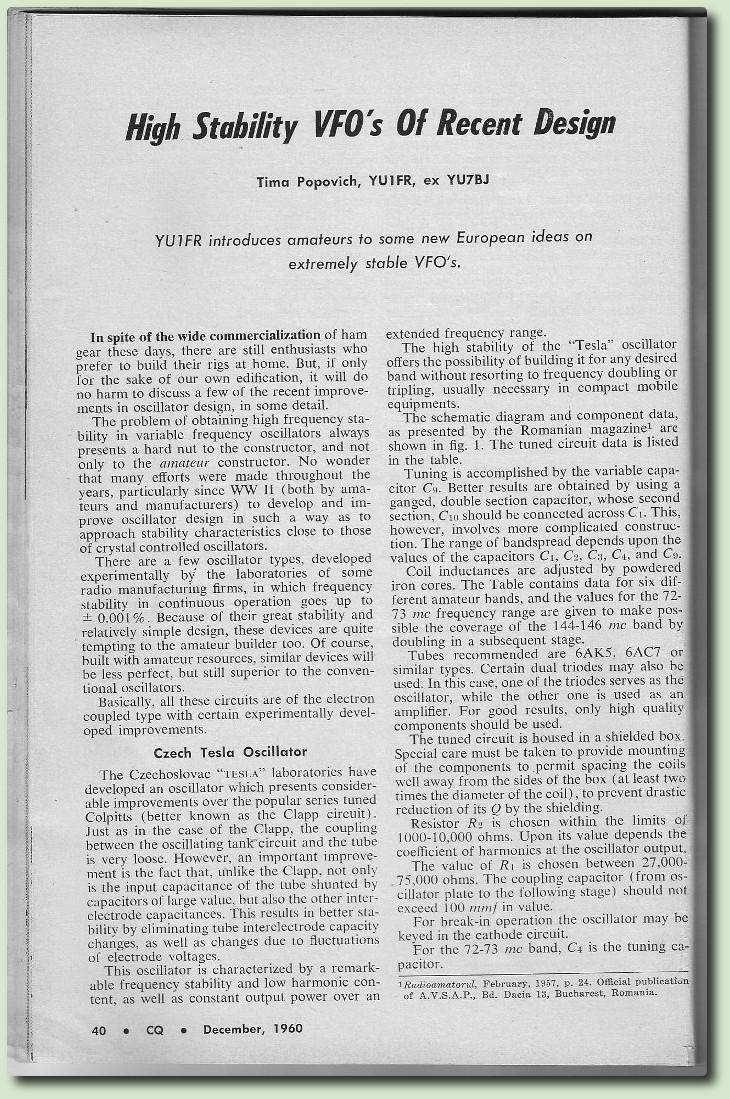 VFO très stables  CQ 1960 en Anglais