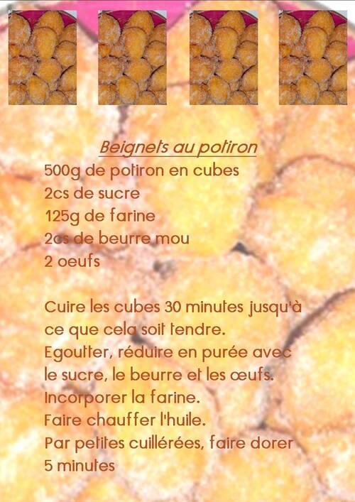 recette d'Odile pour ce jeudi 6 décembre2012: les beignets au potiron
