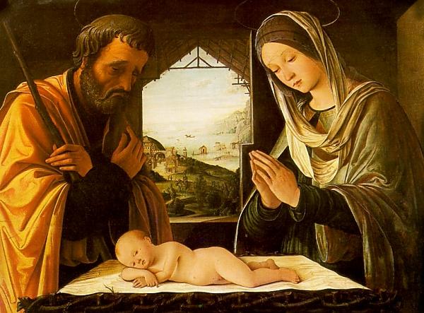 Pour carte de Noel tableau crèche renaissance italienne