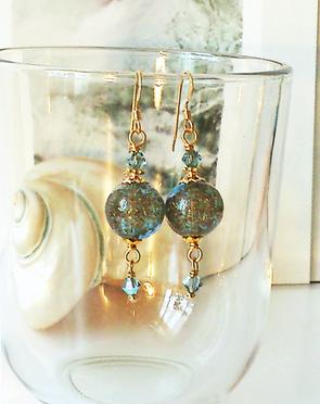 Boucles Verre de Murano authentique bleu paillettes cuivrées / Plaqué Or Gold Filled